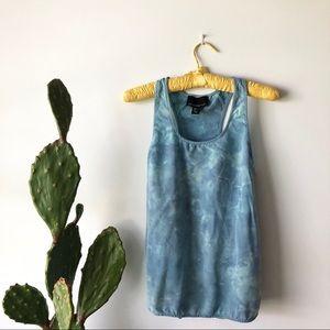 Cynthia Rowley Tie Dye Sleeveless Blue Silk Tank